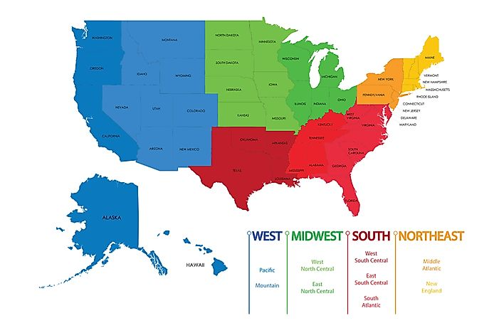 North Central Us Map.The Officially Recognized Four Regions And Nine Divisions Of The