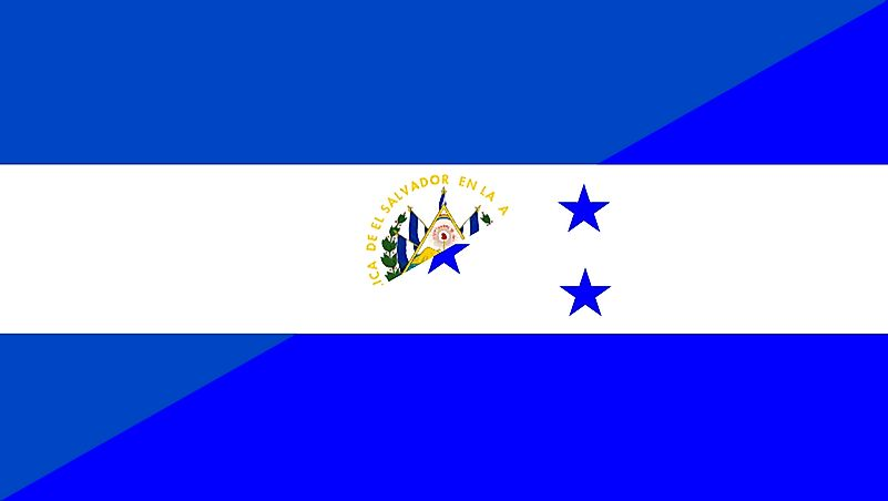 The flag of El Salvador is in the top left corner, while Honduras is in the bottom right.