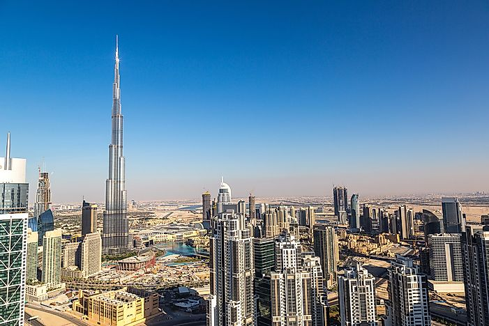 The Burj Khalifa towers over the skyline of Dubai.