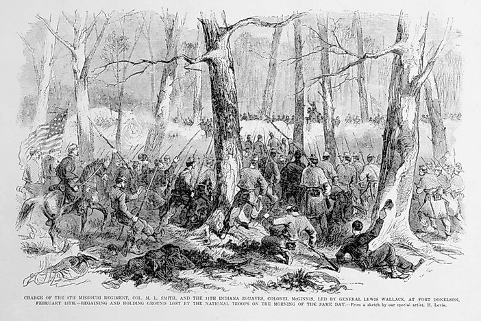 The Battle Of Fort Donelson The American Civil War WorldAtlascom - Fort donelson on us map