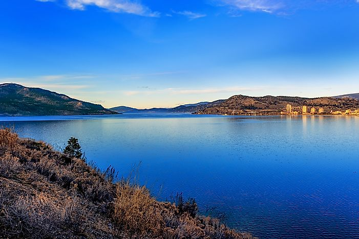 Okanagan Lake with the city of Kelowna in the background.