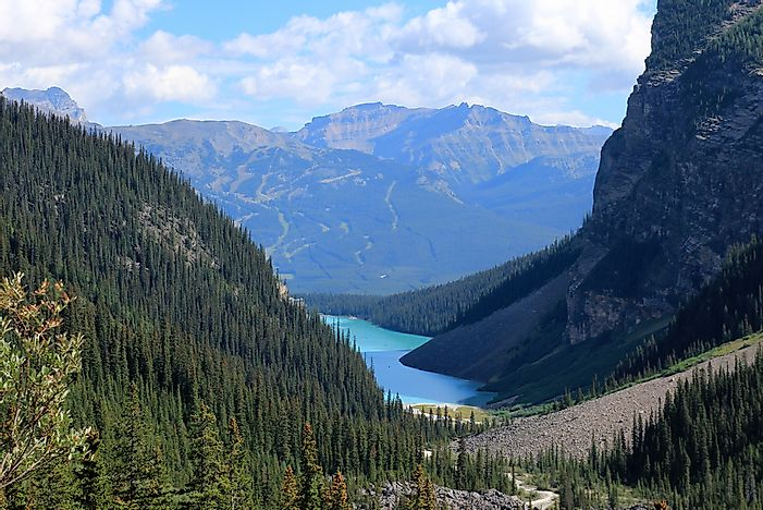 Lake Louise as seen from the Plain of Six Glaciers hike.