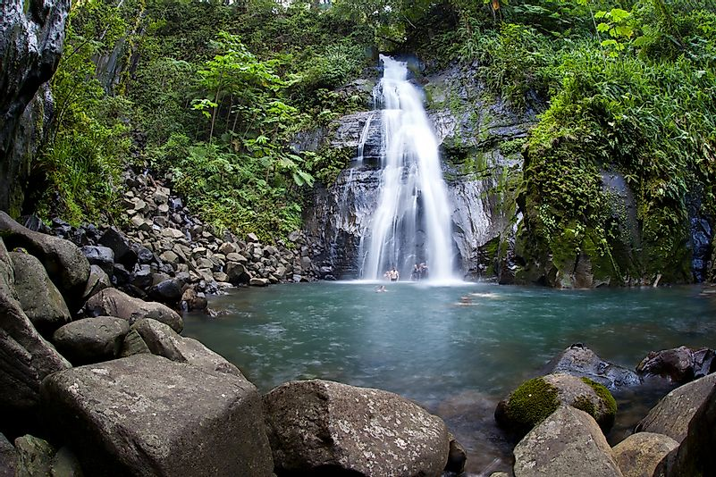 A waterfall on Cocos Island.