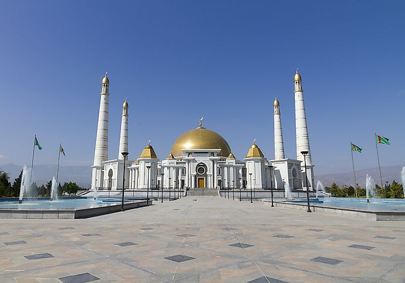 The grand mosque of Ashgabat.