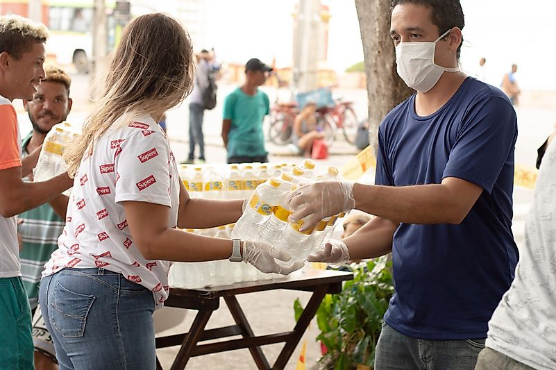 Recife, Pernambuco/Brazil - March 30 2020: delivery of donations for the manufacture of meals for homeless people on the streets. Image credit: Juliana F Rodrigues/Shutterstock.com