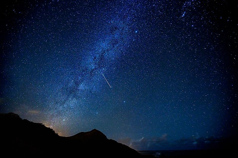 The Milky Way during the Leonid meteor shower as one shooting star passes through.