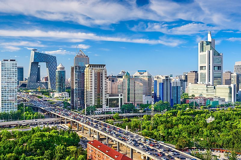 Traffic approaching the Beijing Central Business District.