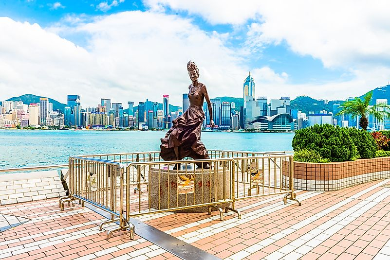 The Avenue of Stars celebrates stars of the Hong Kong film industry.