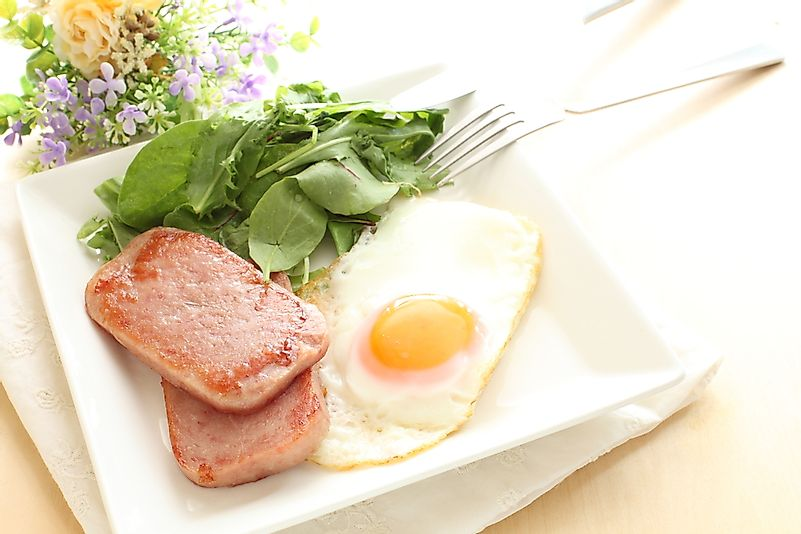 Spam with eggs, a dish popular in Hawaii.