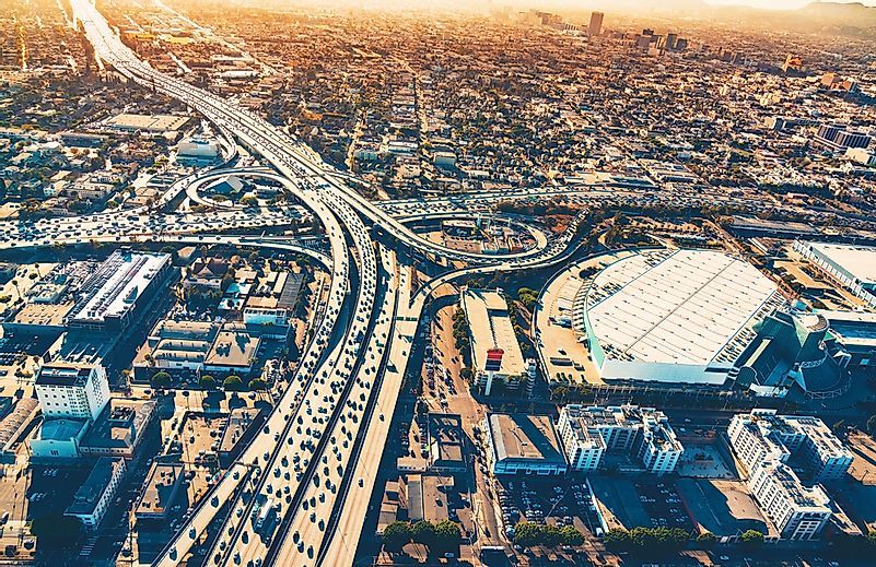 High volumes of cars use Los Angeles's freeways.