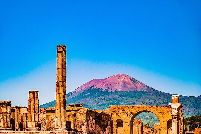 The famous antique site of Pompeii, near Naples. It was completely destroyed by the eruption of Mount Vesuvius.
