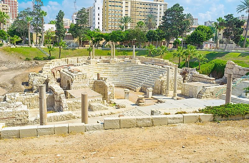 The White Amphitheatre ruins in Alexandria, Egypt.