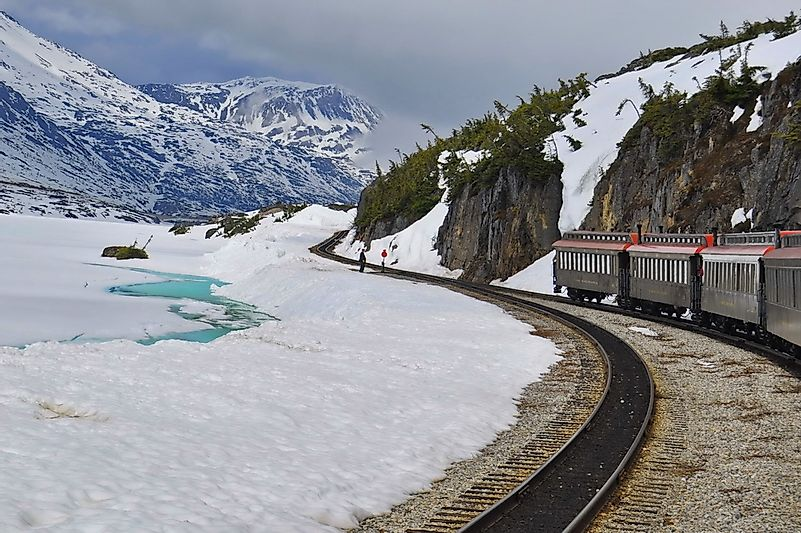 Train in Alaskan Mountains.
