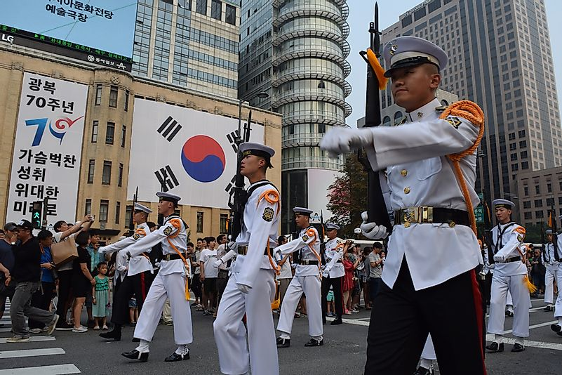 South Korean soldiers march during the country's 70th anniversary of independence from Japanese colonization.