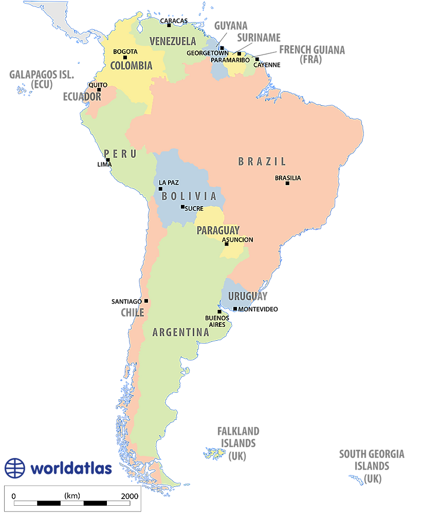 Political Map Of South America With Capitals.Maps Of South America