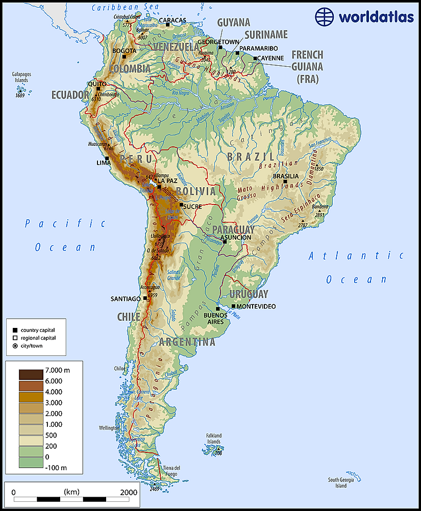 South America Physical Map Labeled – lookyourbest.info