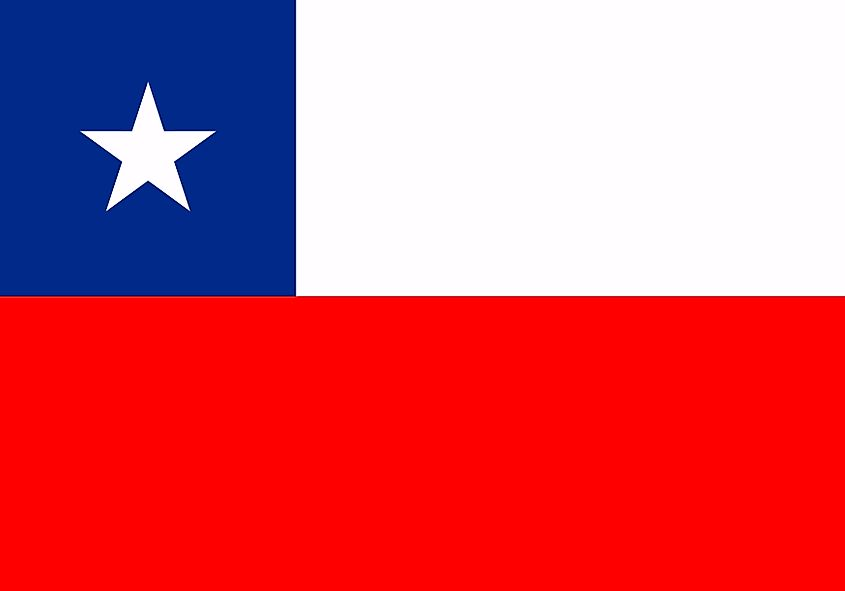 The National Flag of Chile features two equal horizontal bands of white (top) and red; with a blue square band at the hoist end of the white band.