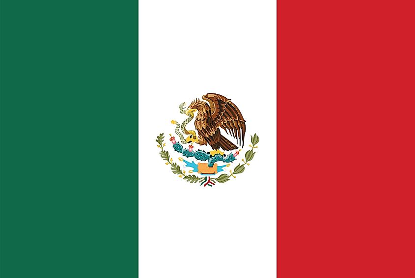 The flag of Mexico is a vertical tricolor flag of green (hoist), white, and red bands with national coat of arms centered on white.