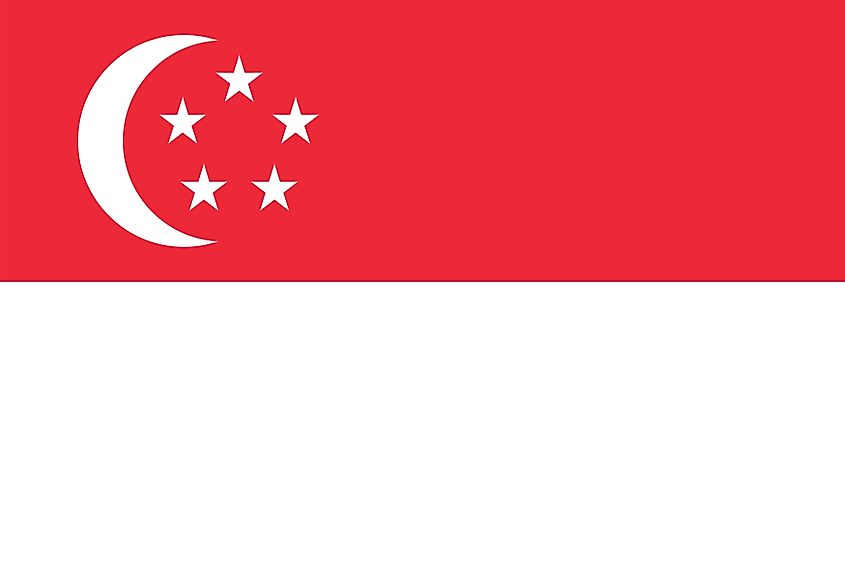 The National Flag of Singapore features two equal horizontal bands of red (top) and white, where on the hoist side of the red stripe is a vertical, white-colored crescent moon that faces the flag's fly side.