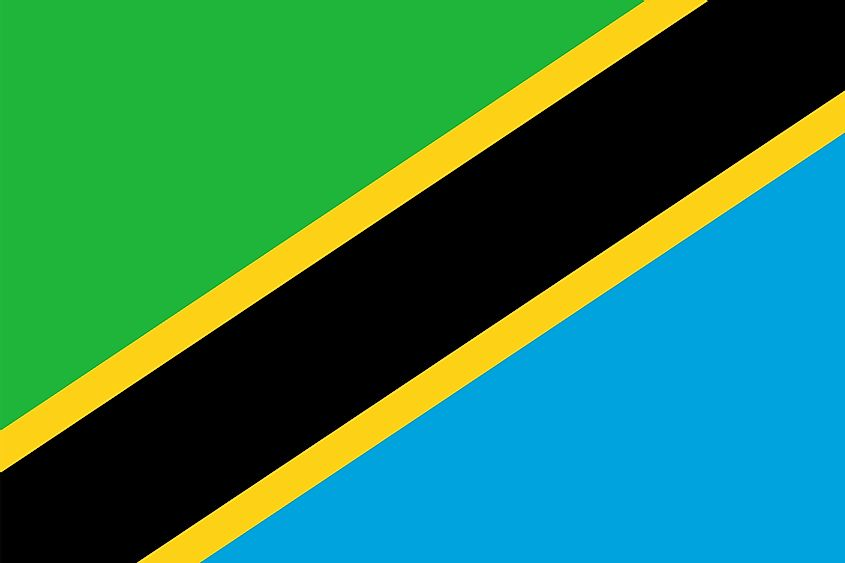 The National Flag of Tanzania is divided diagonally by a yellow-edged black band from the lower hoist-side corner; with the upper triangle (hoist side) being green and the lower triangle being blue.
