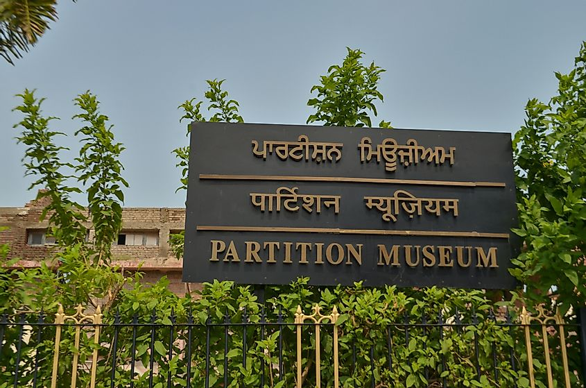 Amritsar, India: 2019 Sign board for the newly opened Partition Museum. Historic townhall building of the British era now converted into a Museum depicting the stores of 1947 partition India Pakistan