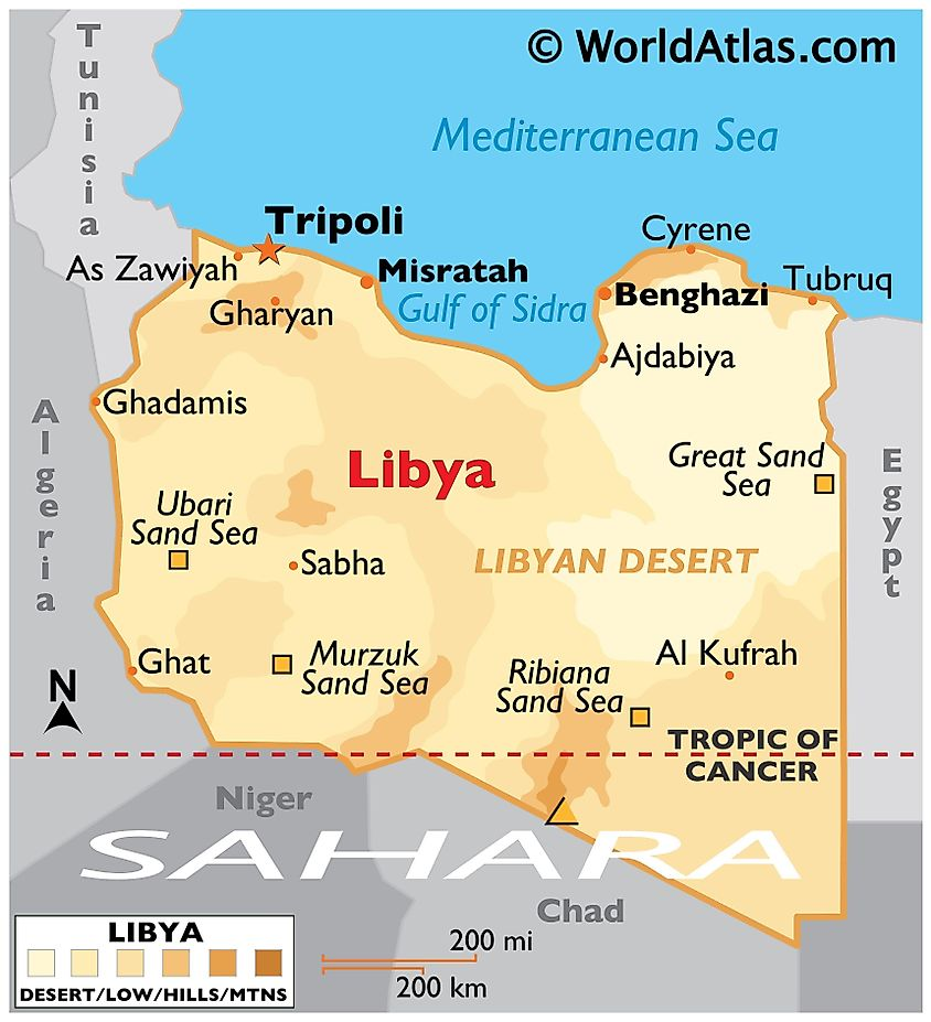 Physical Map of Libya displaying state boundaries, relief, highest point, important cities, and desert with its sand seas.