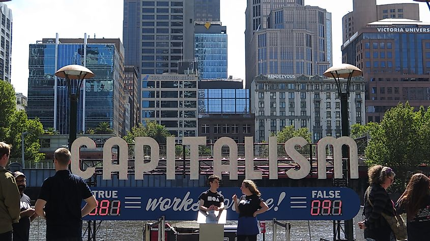 Melbourne, Victoria, Australia 03/25/2018 Public performance poll on the street about capitalism