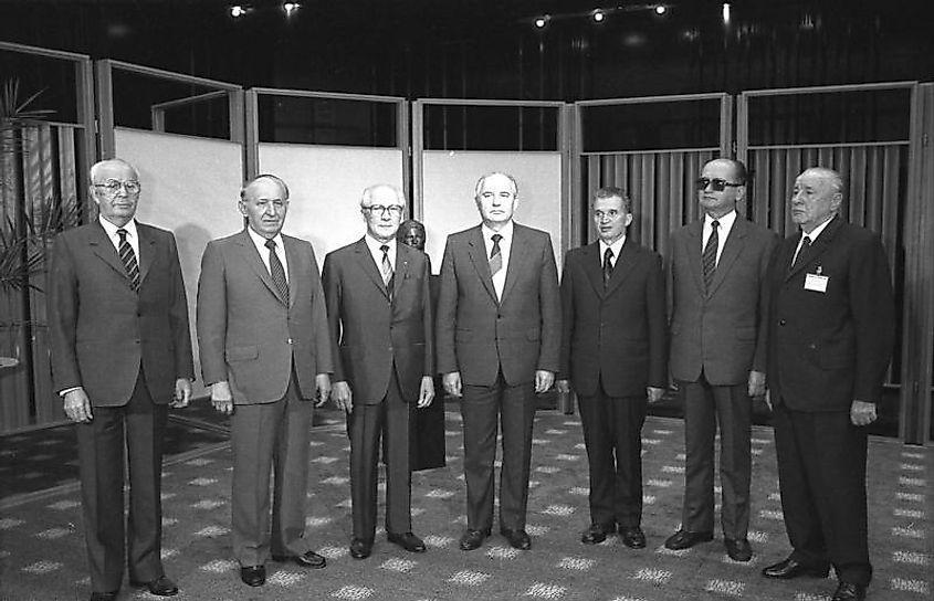 Meeting of the seven representatives of the Warsaw Pact countries in East Berlin in May 1987.