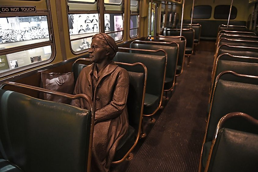 Sculpture of Rosa Parks inside bus at the National Civil Rights Museum. Credit: Gino Santa Maria / Shutterstock.com