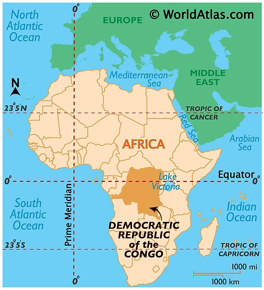 Map showing location of Democratic Republic Of The Congo in the world.