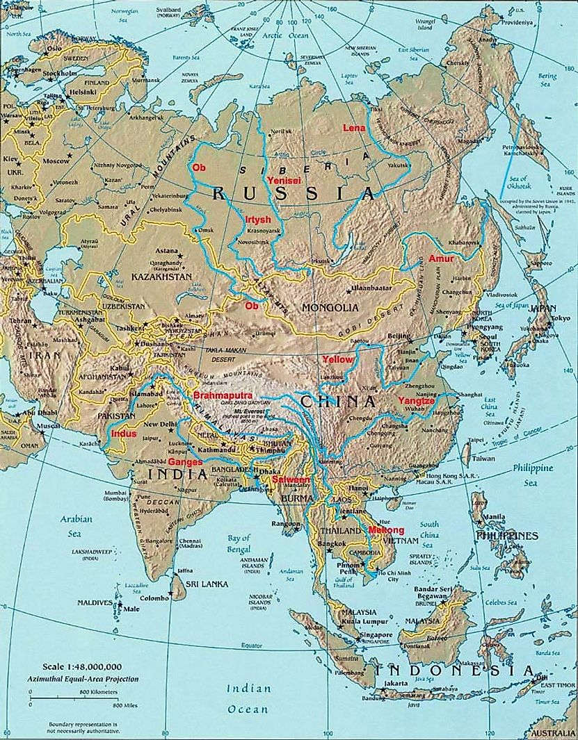 Map of Asia's longest rivers