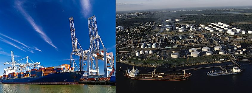 The Port of Rotterdam, Netherlands is one of the busiest and most modern in the world.
