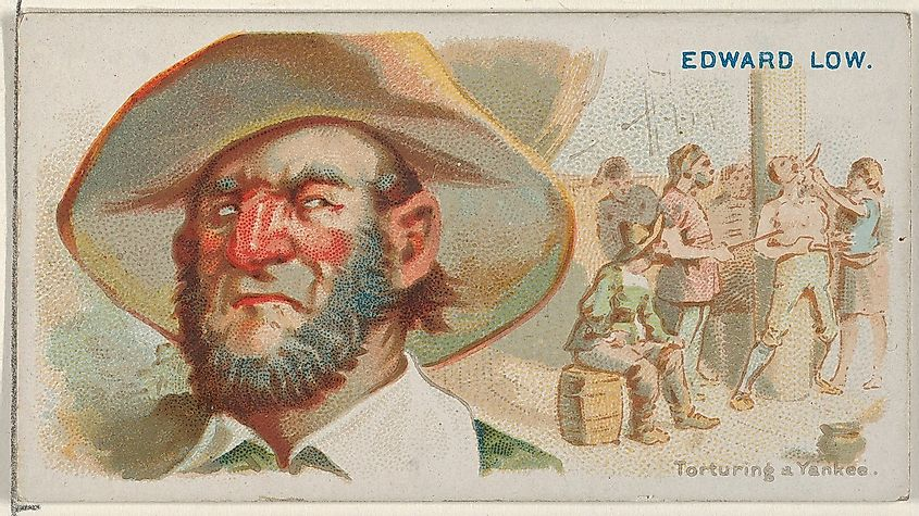 Edward Low, Torturing a Yankee, from the Pirates of the Spanish Main series (N19) for Allen & Ginter.