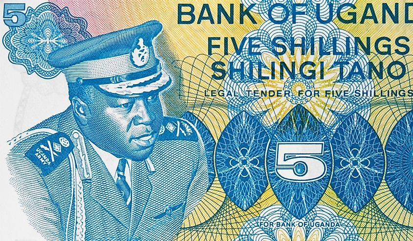 Idi Amin depicted on the Ugandan 5 shilling banknote.