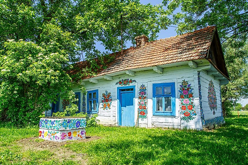 "The painted homes of the tiny village of Zalipie has earned it the name ""The Painted Village."" Editorial credit: Krzyzak / Shutterstock.com"