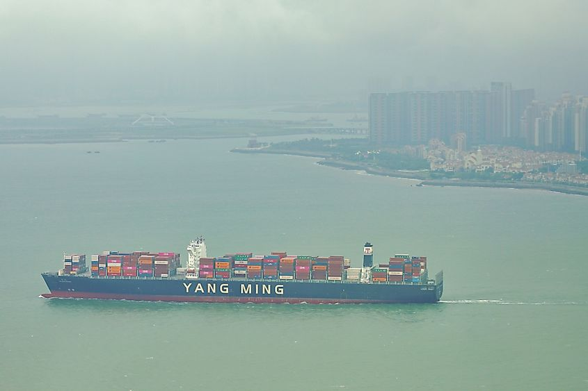 Aerial view of a Yang Ming container ship in the Taiwan Strait in Xiamen (Amoy) in Fujian province, China.