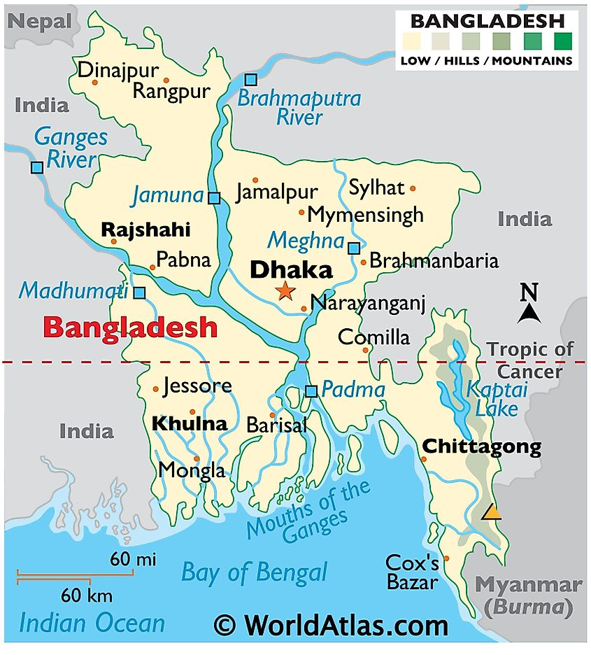 Physical Map of Bangladesh showing international boundaries, relief, highest point, important cities, major rivers, lakes, and more.