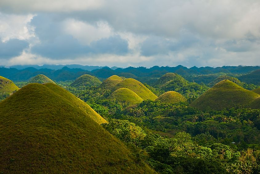 A misty morning in the Chocolate Hills in Bohol, Philippines.