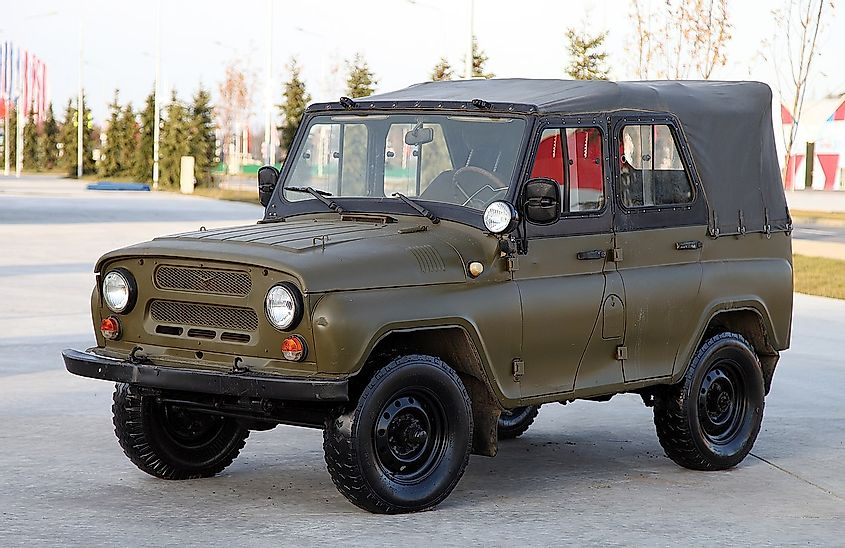A typical Soviet military jeep UAZ-469, used by most of the Warsaw Pact countries