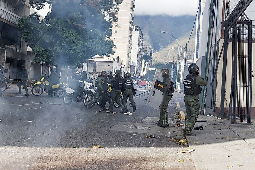 Violence in the streets of Caracas. Image credit:  Ruben Alfonzo/Shutterstock.com