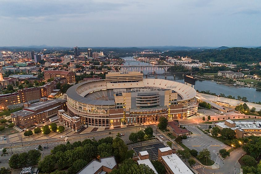 Aerial drone photo of the Neyland sports stadium arena at Downtown Knoxville Tennessee USA