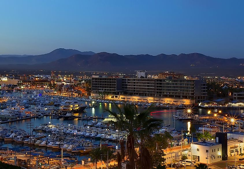 Los Cabos (Cabo San Lucas), Mexico night view of city and marina. Image credit: Galina Gutarin/Shutterstock.com