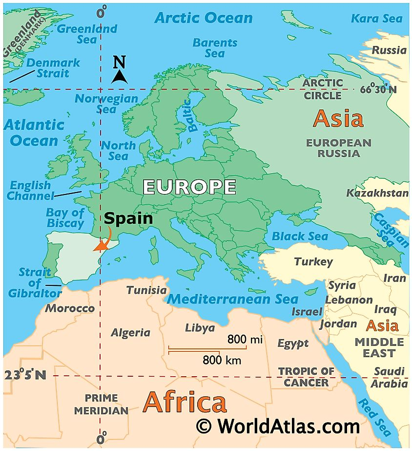Map showing location of Spain in the world.