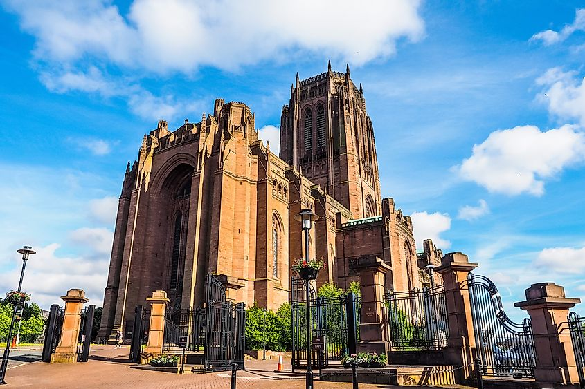 The Liverpool Cathedral is the largest Anglican church building in the United Kingdom.