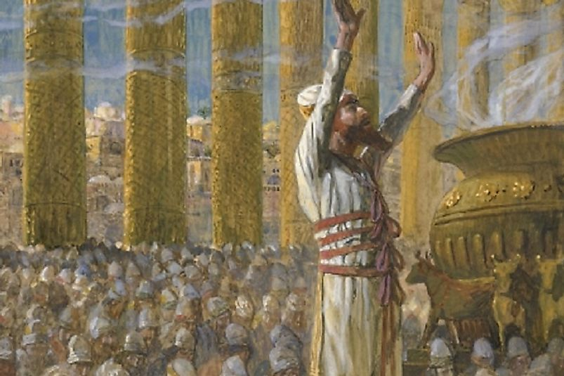 Painting depicting Solomon dedicating the First Hebrew Temple at Jerusalem. Many historians, however, challenge the validity of these Biblical accounts.