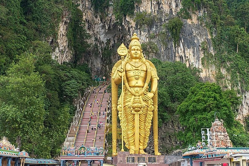 The Batu Caves near Kuala Lumpur, Malaysia is one of the most famous Hindu sacred sites outside of the nation of India.