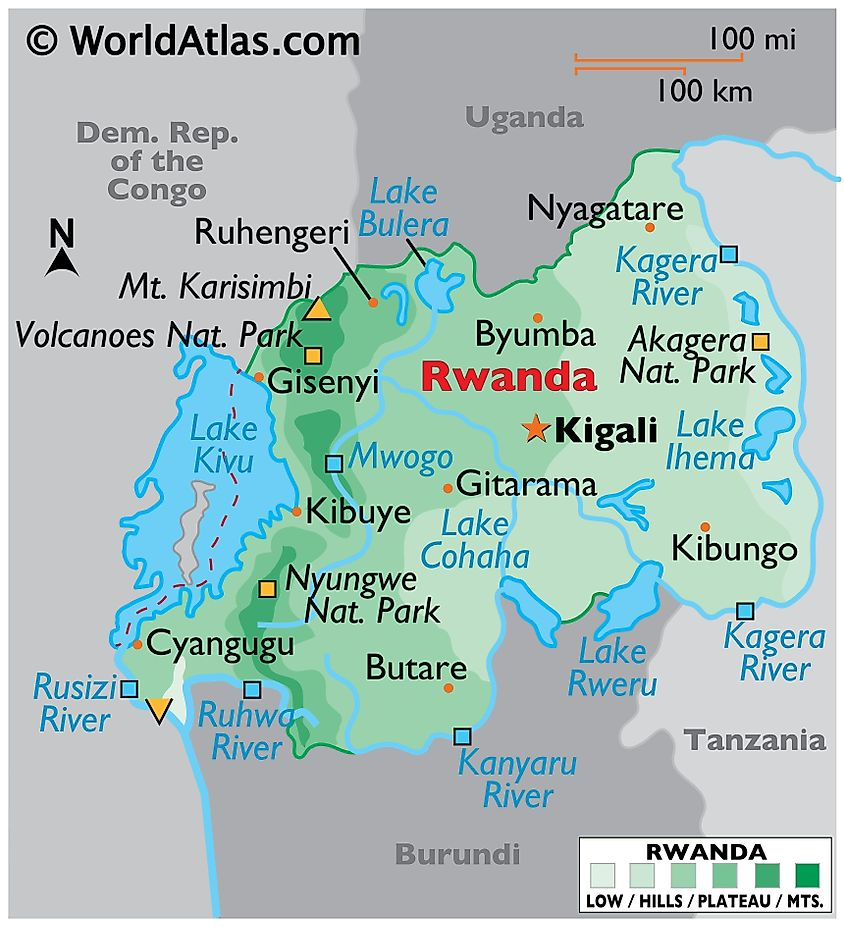 Physical Map of Rwanda with state boundaries. It shows the physical features of Rwanda including terrain, major rivers, mountains, lakes, cities, and protected areas.