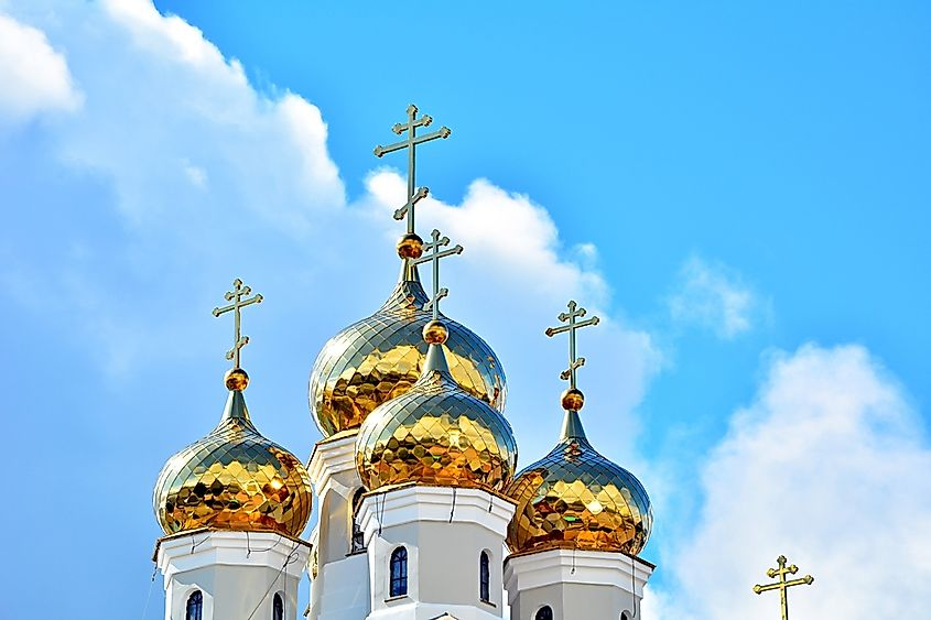 Domes of an Eastern Orthodox Church in Russia.
