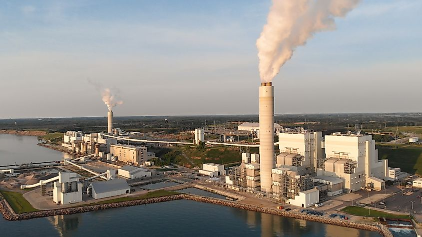 Aerial view of Power Station in Wisconsin (Milwaukee).
