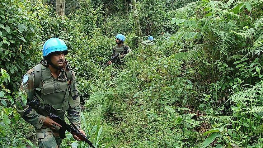 Indian members of United Nations Peacekeeping forces patrol the jungles in the Democratic Republic of the Congo.